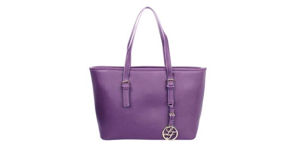 Dámska fialová kabelka s príveskom London fashion