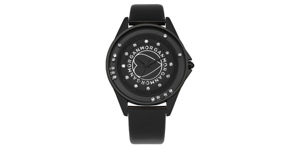 Dámske čierne analogové hodinky s kamínky Morgan De Toi