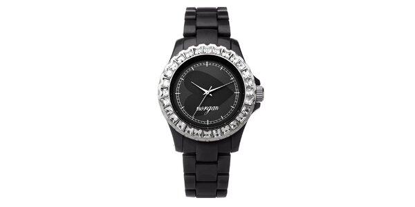 Dámske čierne analogové hodinky s českými kryštálmi Morgan De Toi