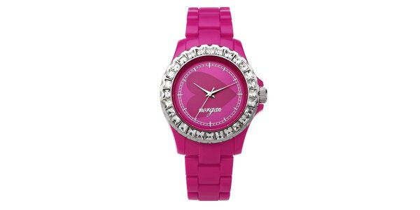 Dámske ružové analogové hodinky s českými kryštálmi Morgan De Toi