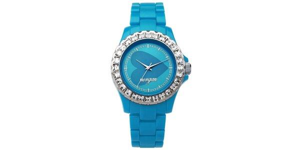 Dámske tyrkysové analogové hodinky s českými kryštálmi Morgan De Toi