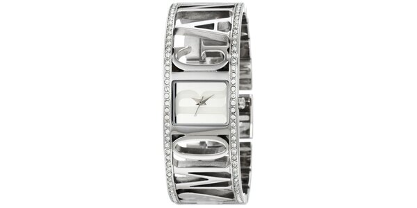 Dámske strieborné hodinky s perforováním a kryštálmi Morgan de Toi