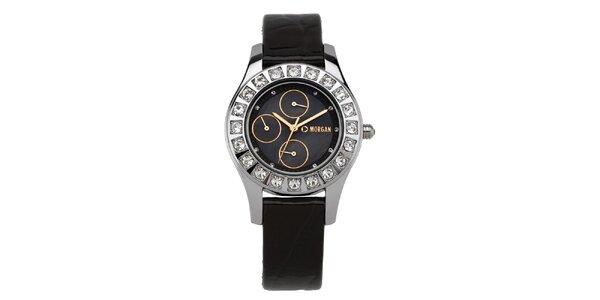 Dámske hnedo-strieborné hodinky s kryštálmi Morgan de Toi