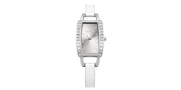 Dámske strieborno-biele hodinky s kryštálmi Morgan de Toi