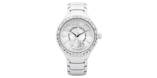 Dámske biele hodinky s kryštálmi Morgan de Toi