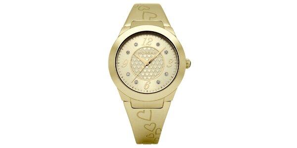 Dámske zlaté matné hodinky s kryštálmi Morgan de Toi