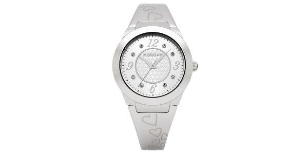Dámske strieborne matné hodinky s kryštálmi Morgan de Toi