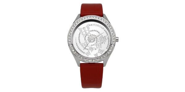 Dámske červené hodinky s kryštálmi a motýly Morgan de Toi