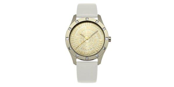 Dámske zlato-biele hodinky s kryštálmi Morgan de Toi