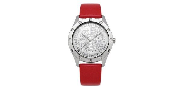 Dámske červené hodinky s kryštálmi Morgan de Toi