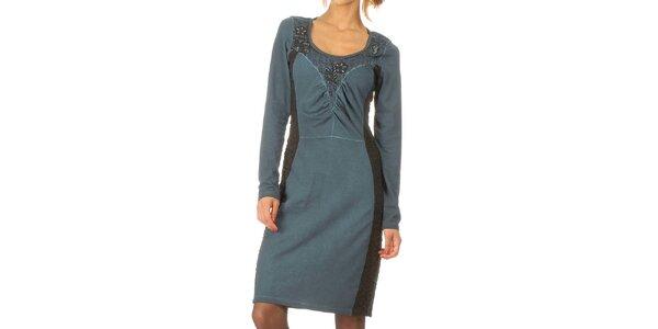 Dámske modrozeľané šaty s dekoratívnou korálkovou aplikáciou Angels Never Die
