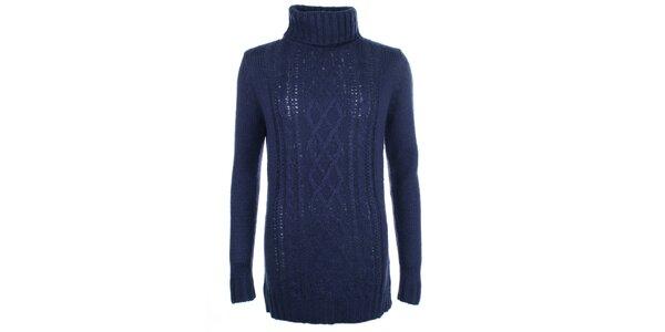 Dámsky modrý vzorovaný sveter s rolákom Pietro Filipi