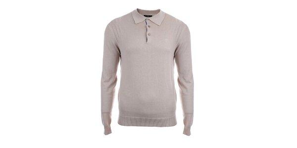 Pánsky béžový sveter s límčekom Pietro Filipi