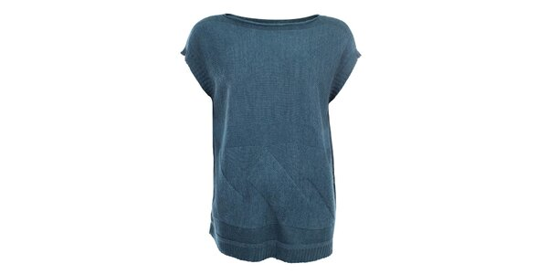 Dámsky šedomodrý sveter s krátkymi rukávmi Big Star