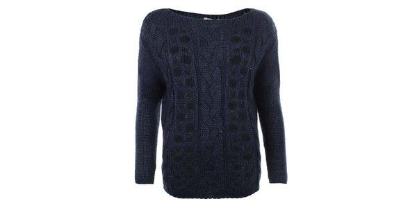Dámsky tmavomodrý sveter s prestrihmi Big Star