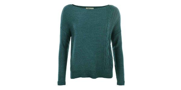 Dámsky modrý sveter s plastickým vzorom Big Star