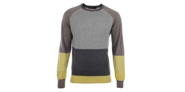Pánsky šedý sveter so žltými prvkami Big Star