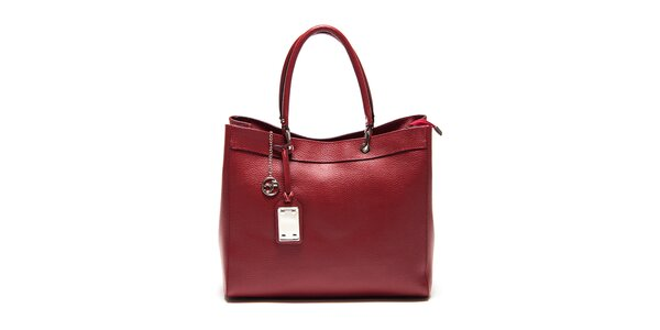 Dámska červená kožená kabelka Carla Ferreri