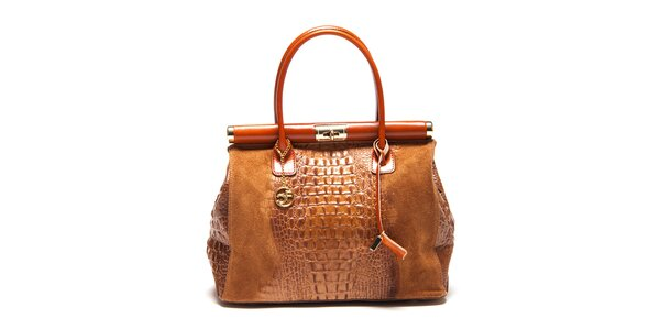 Dámska kufríková kabelka v koňakovej farbe Carla Ferreri