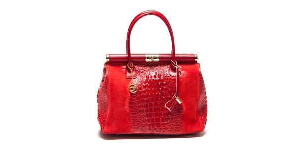 Dámska kufríková kabelka v červenej farbe Carla Ferreri