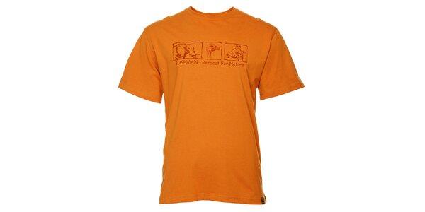 Pánske oranžové tričko Bushman s potlačou
