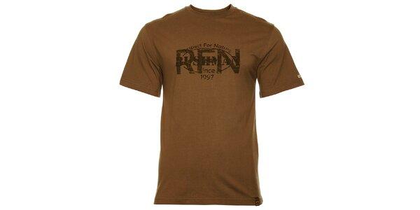 Pánske hnedozelené tričko Bushman s potlačou