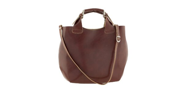 Dámska hnedá kožená kabelka Ore 10