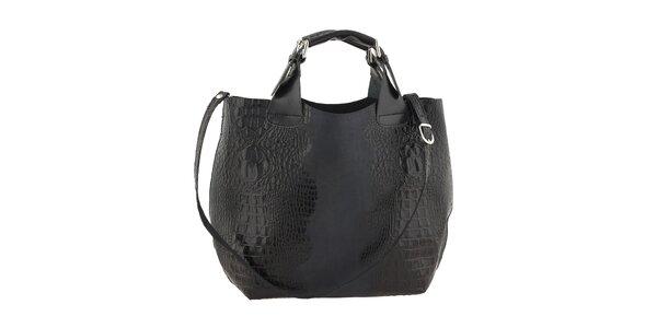 Dámska čierna kožená kabelka s krokodílim vzorom Ore 10
