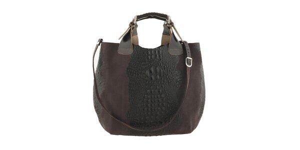 Dámska tmavo hnedá kožená kabelka s krokodílim vzorom Ore 10