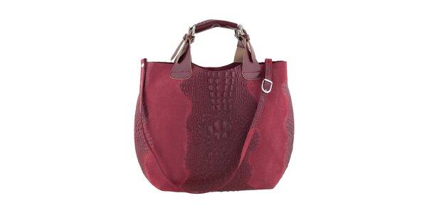 Dámska červená kožená kabelka s krokodílim vzorom Ore 10