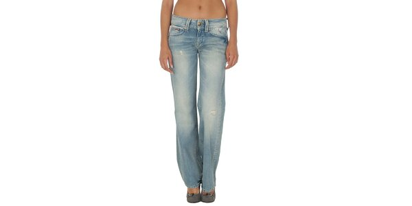Dámske svetlo modré džínsy s odreninami a šisovaním Tommy Hilfiger