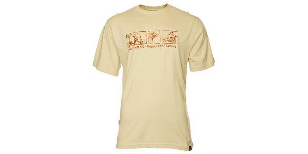 Pánske krémové tričko Bushman s potlačou