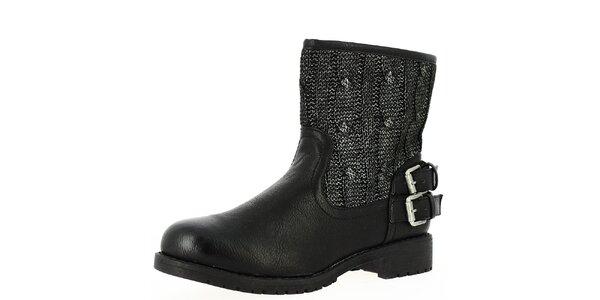 Dámske čierne nízke čižmy s úpletom Shoes and the City