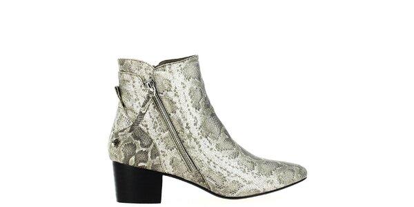 Dámske svetlo šedé členkové topánky s hadím vzorom Shoes and the City