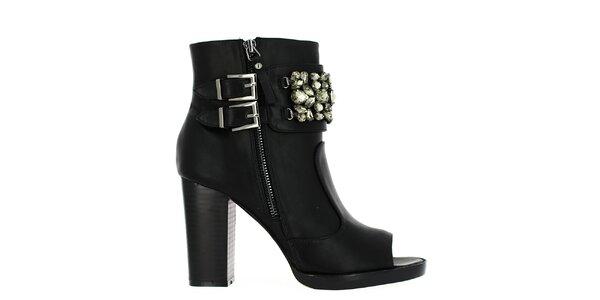 Dámske čierne členkové topánky s dekoratívnymi kamienkami Shoes and the City