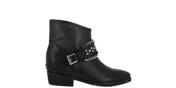 Dámske čierne členkové topánky s prackou cez nárt Vanessa Wu