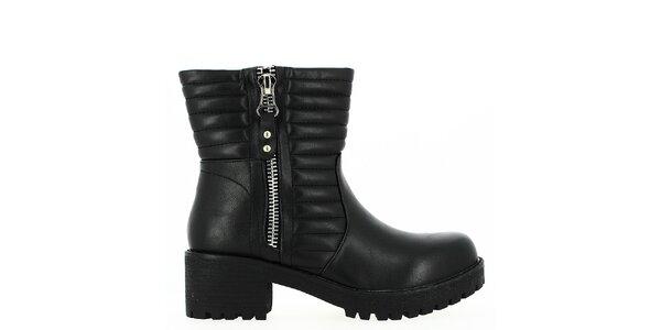 Dámske čierne nízke čižmy so zipsom Shoes and the City