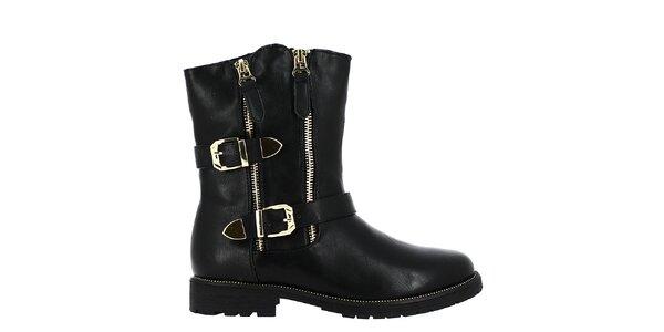 Dámske čierne členkové topánky so zlatými prackami Shoes and the City