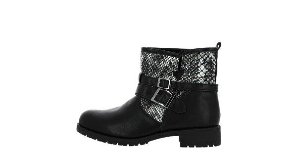 Dámske čierne členkové topánky so vzorom hadej kože Shoes and the City