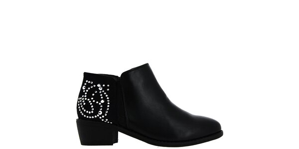 Dámske čierne členkové topánky s kamienkami Bellucci
