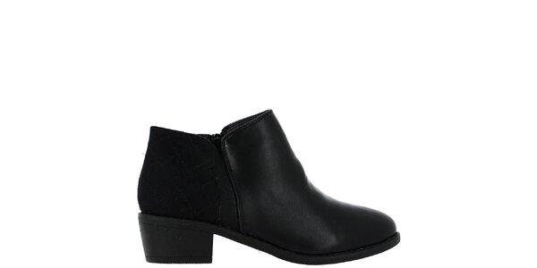 Dámske čierne členkové topánky s prešívanou pätou Bellucci