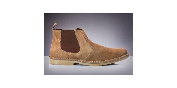 Pánske béžové chelsea topánky Roamers