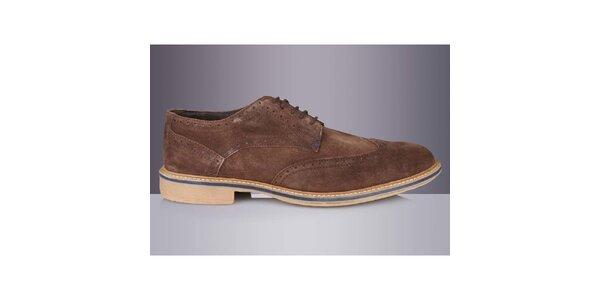 Pánske hnedé topánky s prúžkom Roamers