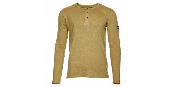 Pánske béžové tričko Bushman s dlhým rukávom a gombíkmi