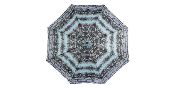 Dámsky dáždnik s modro-čiernou potlačou Ferré Milano