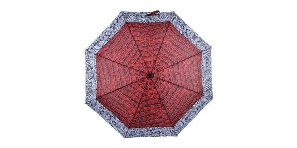 Dámsky skladací dáždnik s krokodílym vzorom Ferré Milano