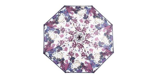Dámsky skladací modro-fialový dáždnik s kvetinami Ferré Milano