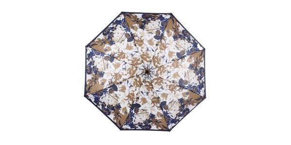 Dámsky skladací modro-hnedý dáždnik s kvetinami Ferré Milano