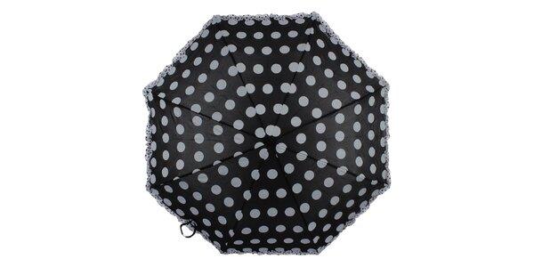 Dámsky čierny skladací dáždnik s bielymi bodkami a volánikom Ferré Milano