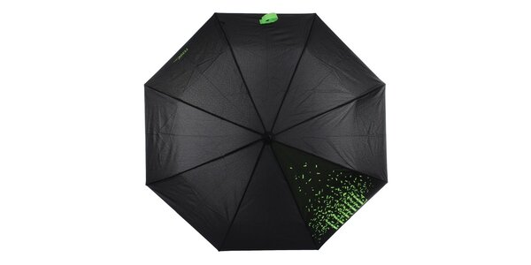 Dámsky čierny skladací dáždnik so zeleným nápisom Ferré Milano